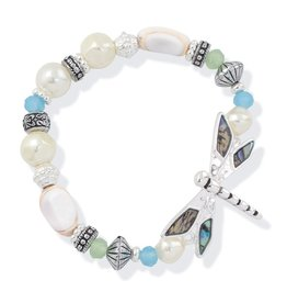 Periwinkle by Barlow Silver Pearl Bracelet Abalone Dragonfly Charm