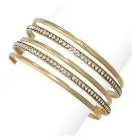 Periwinkle by Barlow Smooth Gold Crystal Studded Bangle Bracelet