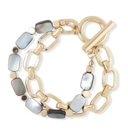 Periwinkle by Barlow Gold Linked Abalone Bracelet