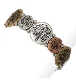 Periwinkle by Barlow Tri-Tone Tree Of Life Bracelet