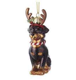 Kurt Adler Nobel Gems Rottweiler With Antlers Glass Ornament
