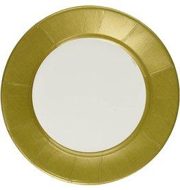 Caspari Paper Dinner Plates Round Linen Gold 8pk