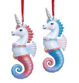 Kurt Adler Unicorn Seahorse Ornaments Set of 2 Assorted