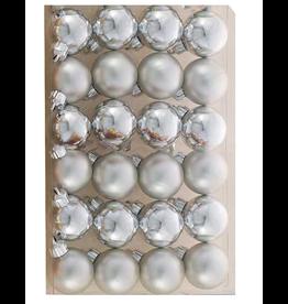 Kurt Adler Miniature Shatterproof Ball Ornaments 24pc 30MM Silver