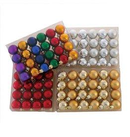 Kurt Adler Miniature Shatterproof Ball Ornaments 24pc 30MM Set of 4
