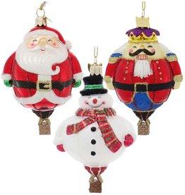 Kurt Adler Nobel Gems Hot Air Balloon Glass Ornaments Set of 3 Assorted