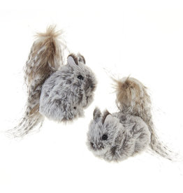 Kurt Adler Grey Hanging Squirrel Ornaments Set of 2 Assorted