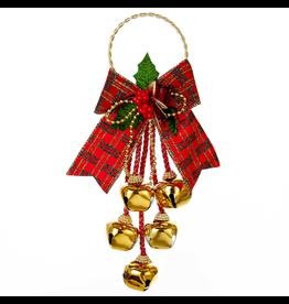 Kurt Adler Gold Jingle Bell w Bow Door Hanger Door Decoration