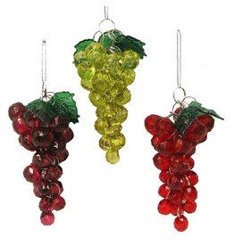 Kurt Adler Beaded Grape Ornaments 3 Assorted