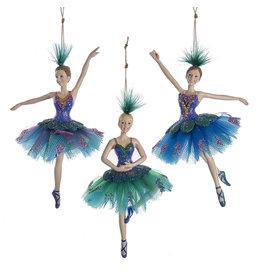 Kurt Adler Peacock Ballerina Ornaments 3 Assorted