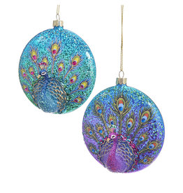 Kurt Adler Glittered Peacock Glass Disc Ornaments 2 Assorted