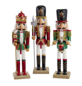 Kurt Adler Nutcrackers Red Green Glitter King And Soldiers 3 Assorted