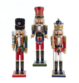 Kurt Adler Nutcrackers Red Green Blue King And Soldiers 3 Assorted