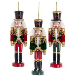 Kurt Adler Green Red Soldier Nutcracker Ornaments 6 Inch 3 Assorted