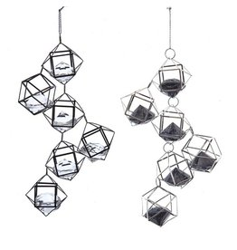 Kurt Adler Silver And Black Drops With Gems Ornaments, 2 Assorted