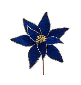 Kurt Adler Poinsettia Picks Royal Blue And Gold 14 Inch Poinsettia