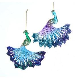 Kurt Adler Glitter Peacock Ornaments 2 Assorted