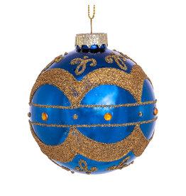 Kurt Adler Navy Blue W Gold Embellishments Glass Ball Ornaments Set 6