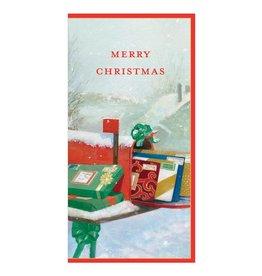 Caspari Christmas Money Holder Cards 4pk Post Box Mailbox With Gifts