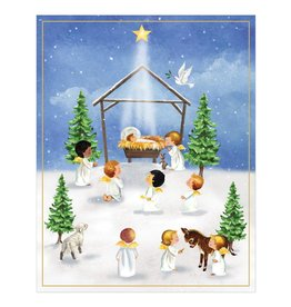 Caspari Boxed Christmas Cards 16pk Angels With Creche