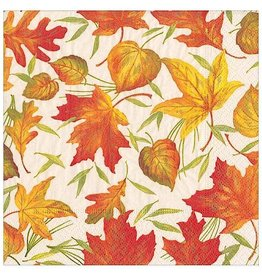 Caspari Fall Thanksgiving Paper Cocktail Napkins 20pk Woodland Leaves