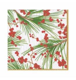 Caspari Christmas Paper Luncheon Napkins 20pk Berries And Pine