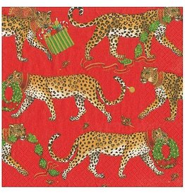 Caspari Christmas Leopards Paper Cocktail Napkins 20pk In Red