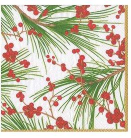Caspari Christmas Paper Cocktail Napkins 20pk Berries And Pine