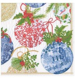 Caspari Christmas Paper Dinner Napkins 20pk Porcelain Ornaments