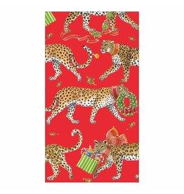 Caspari Christmas Leopards Guest Towel Napkins 15pk In Red