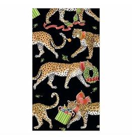 Caspari Christmas Leopards Guest Towel Napkins 15pk In Black