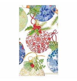 Caspari Christmas Guest Towel Napkins 15pk Porcelain Ornaments