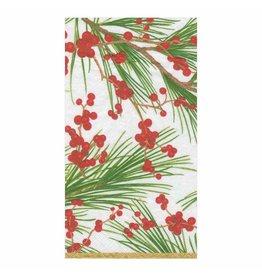 Caspari Christmas Guest Towel Napkins 15pk Berries And Pine
