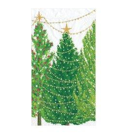 Caspari Christmas Trees With Lights Guest Towel Napkins 15pk