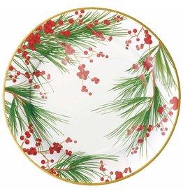 Caspari Christmas Paper Dinner Plates Round 8pk Berries And Pine