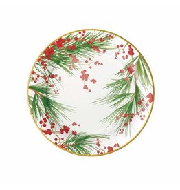 Caspari Christmas Paper Salad Dessert Plates 8pk Berries And Pine