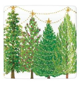 Caspari Christmas Trees With Lights Paper Salad Dessert Plates 8pk Square