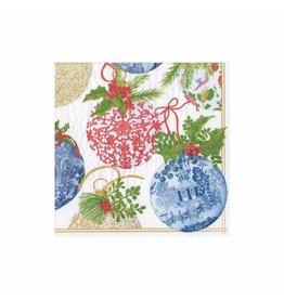 Caspari Christmas Paper Cocktail Napkins 20pk Porcelain Ornaments