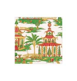 Caspari Christmas Pagodas Paper Cocktail Napkins 20pk