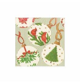 Caspari Christmas Paper Cocktail Napkins 20pk Botanical Ornaments