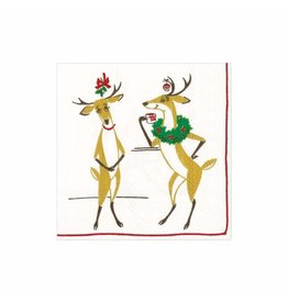 Caspari Christmas Paper Cocktail Napkins 20pk Mistletoe Meets Toddy