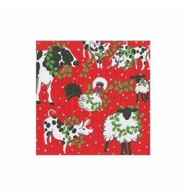 Caspari Christmas Paper Cocktail Napkins 20pk Christmas On The Farm