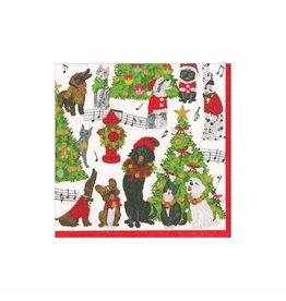 Caspari Christmas Paper Cocktail Napkins 20pk Caroling Pets