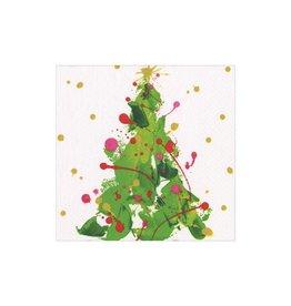 Caspari Christmas Paper Cocktail Napkins 20pk Splatter Tree