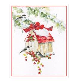 Caspari Boxed Christmas Cards 16pk Chickadees And Birdhouse