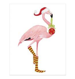 Caspari Boxed Christmas Cards 16pk Christmas Flamingo