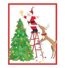 Caspari Boxed Christmas Cards 16pk Santa And Reindeer Decorating Tree