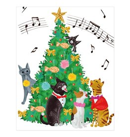 Caspari Boxed Christmas Cards 16pk Cats And Christmas Tree