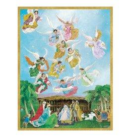 Caspari Angels And Nativity Large Boxed Christmas Cards 16pk