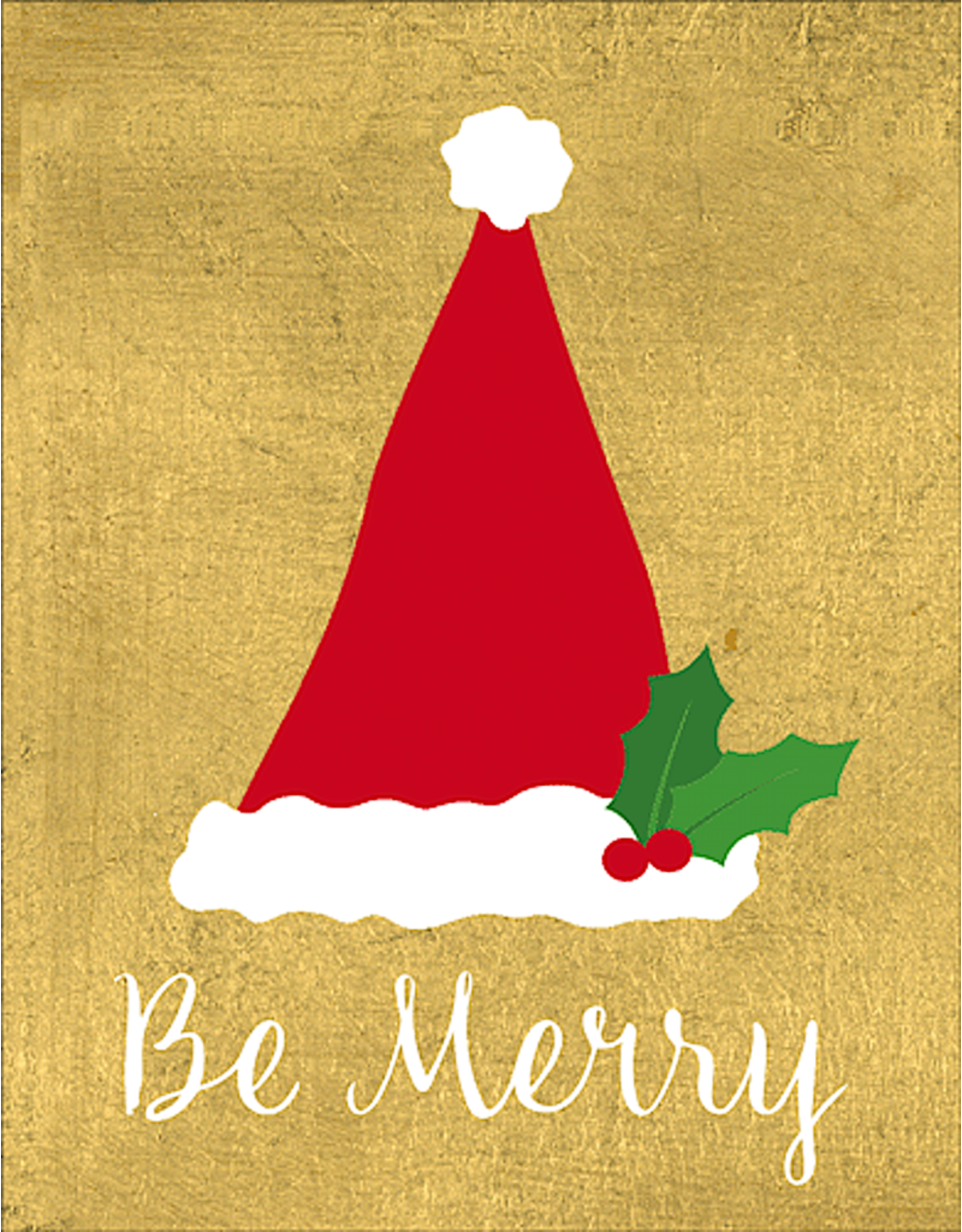 Caspari Be Merry Santa Hat On Foil Christmas Gift Enclosure Cards 4pk